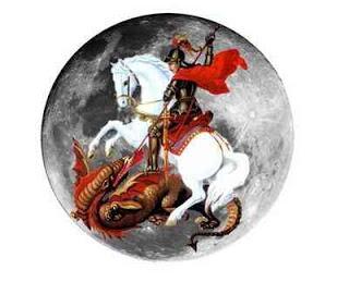 são jorge com o cavalo e a espada lutando contra o dragão