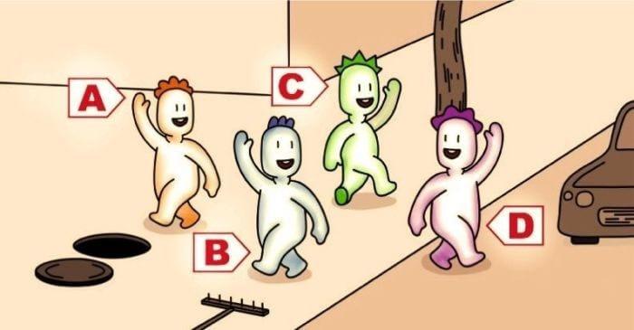 Qual dessas quatro pessoas vai ser o primeiro a cair? Sua resposta refletirá como está seu inconsciente