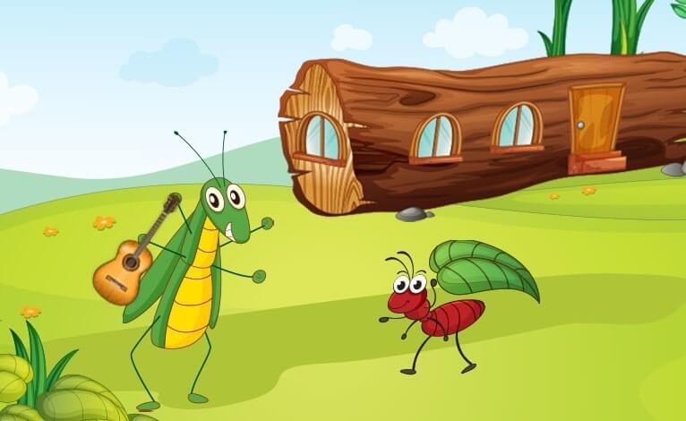 desenho da cigarra e da formiga