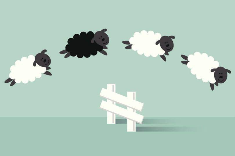 carneirinhos pulando a cerca nos sonhos de uma pessoa