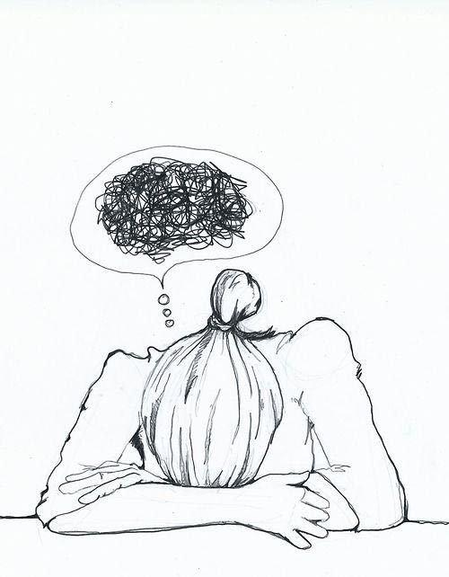 menina triste com pensamentos bagunçados