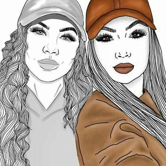 Fotos de desenhos Tumblr duas amigas tirando foto