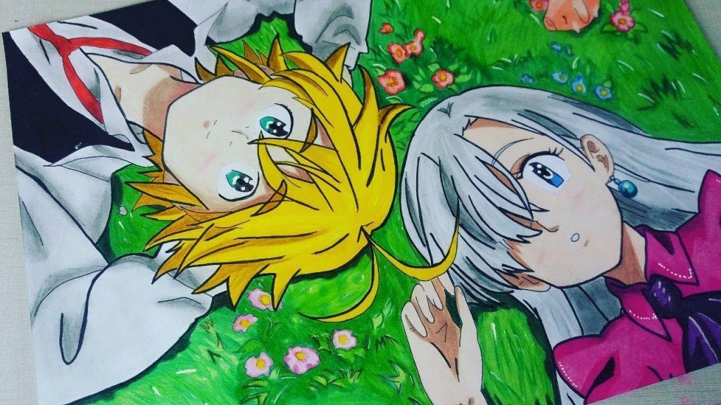 desenho anime Meliodas e Elizabeth