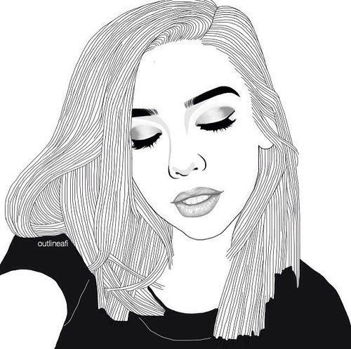 desenho de menina fazendo uma selfie