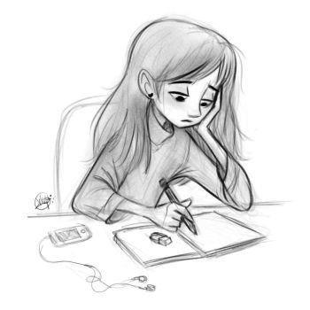 desenho de menina tumblr escrevendo no caderno