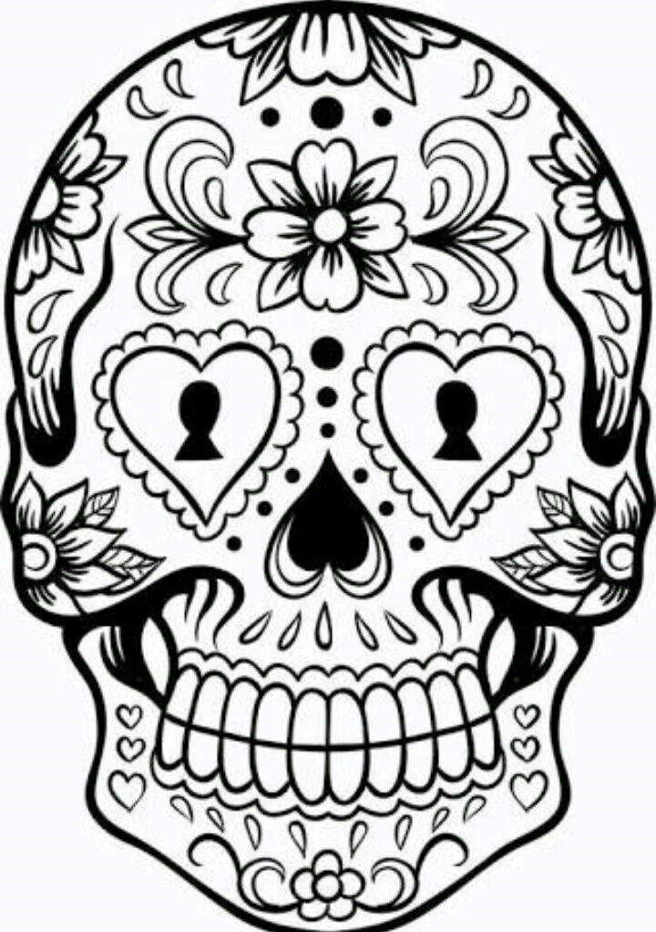 desenho tumblr para colorir caveira mexicana