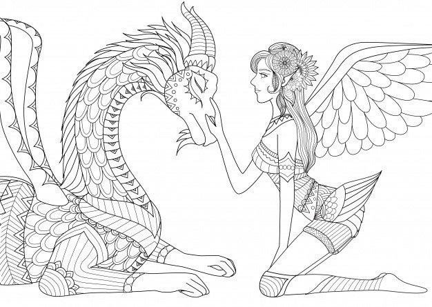 desenho tumblr para colorir menina e dragão