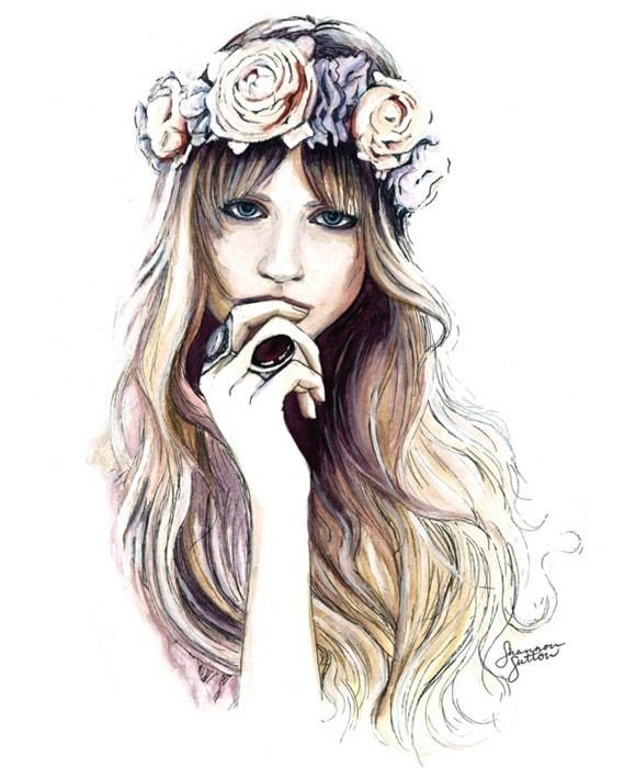 desenho de menina loira de cabelo comprido tumblr