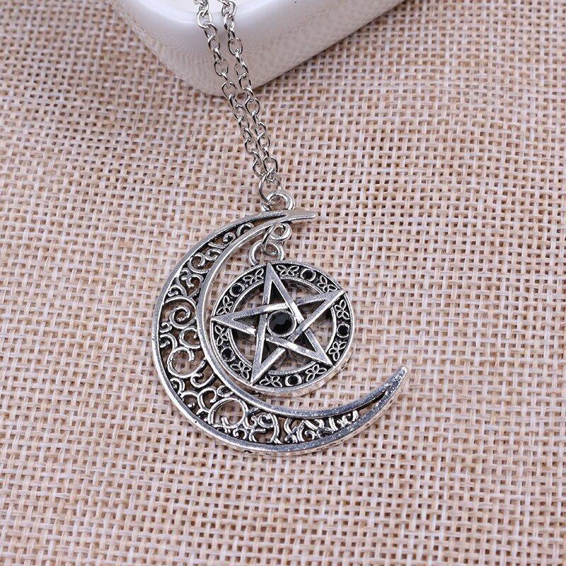 amuleto da sorte de pingente de lua crescente