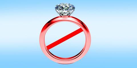 aliança de noivado com um simbolo de bloqueio