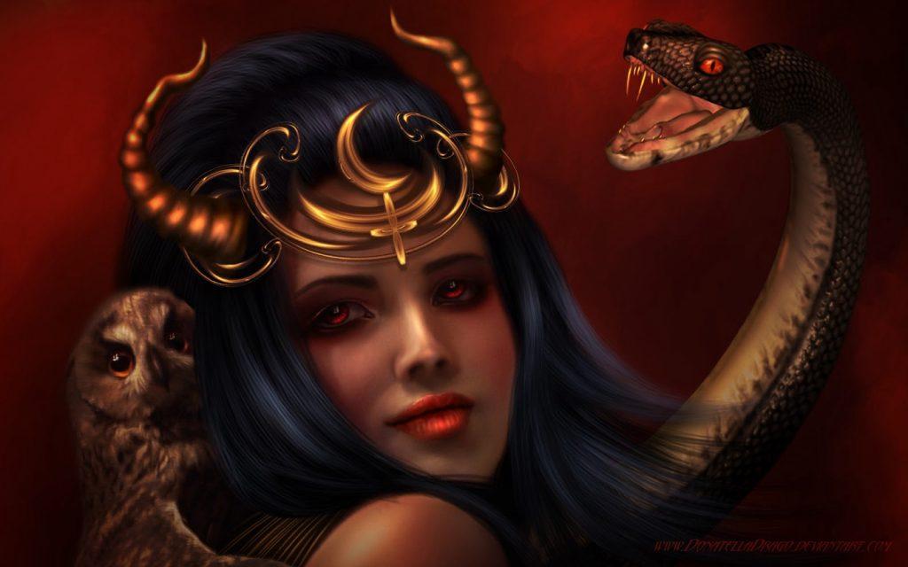 demoniza feminina com uma cobra