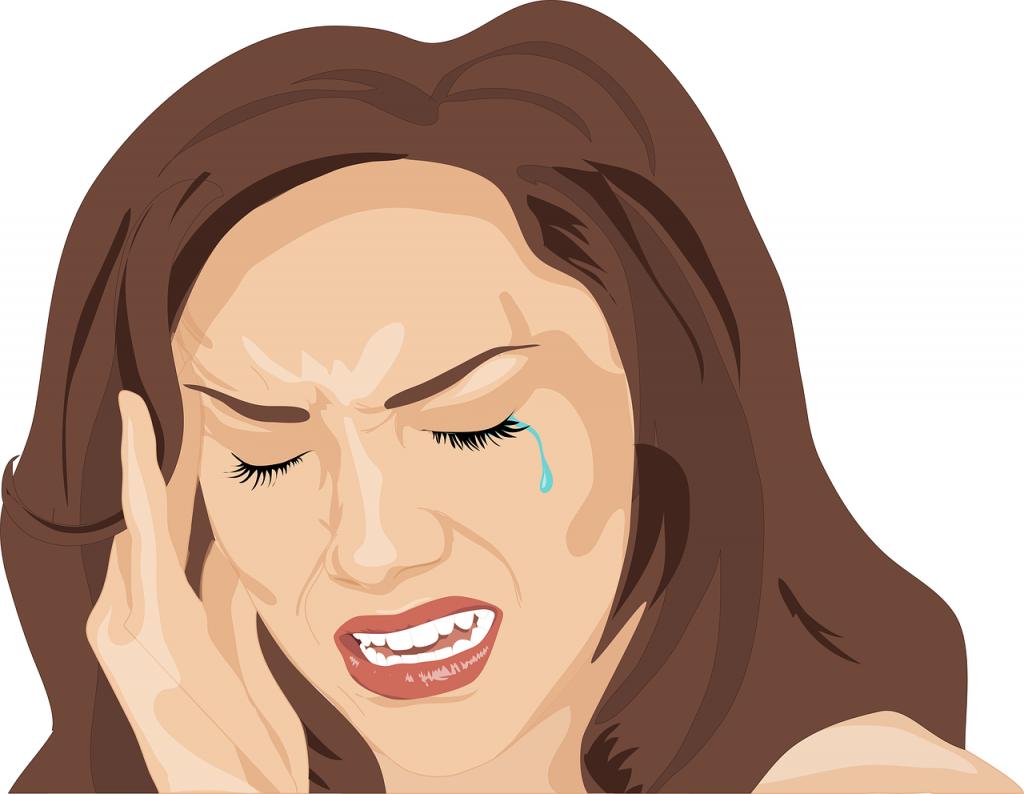 desenho de uma mulher chorando muito com a mão na cabeça