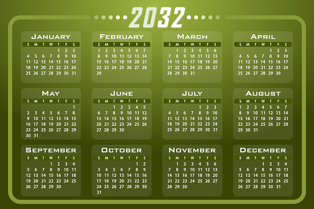 foto do calendário do futuro no ano de 2032