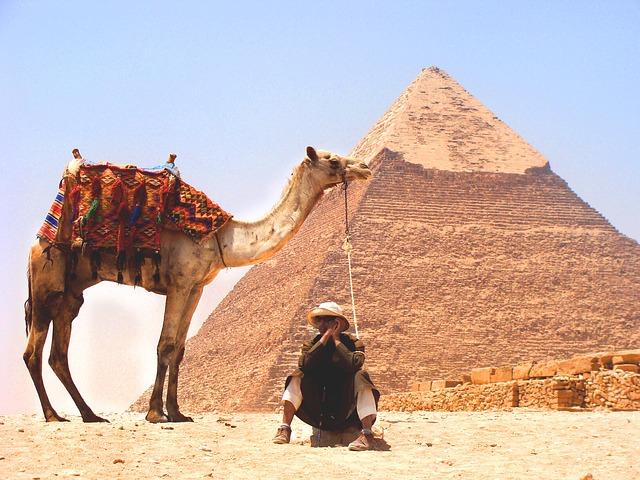 pirâmide, camelo e homem