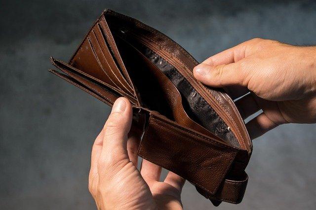 carteira vazia de dinheiro